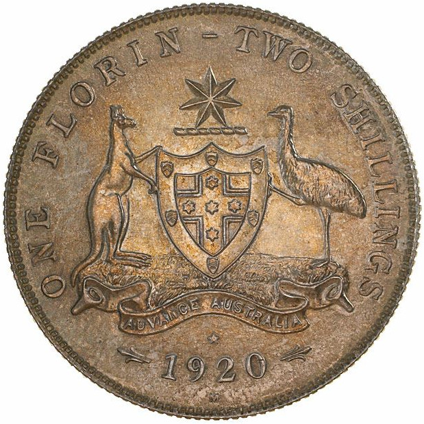 Florin 1920 (pattern): Photo Pattern Coin - Florin (2 Shillings), Australia, 1920