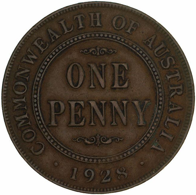 Penny 1928: Photo Coin - 1 Penny, Australia, 1928