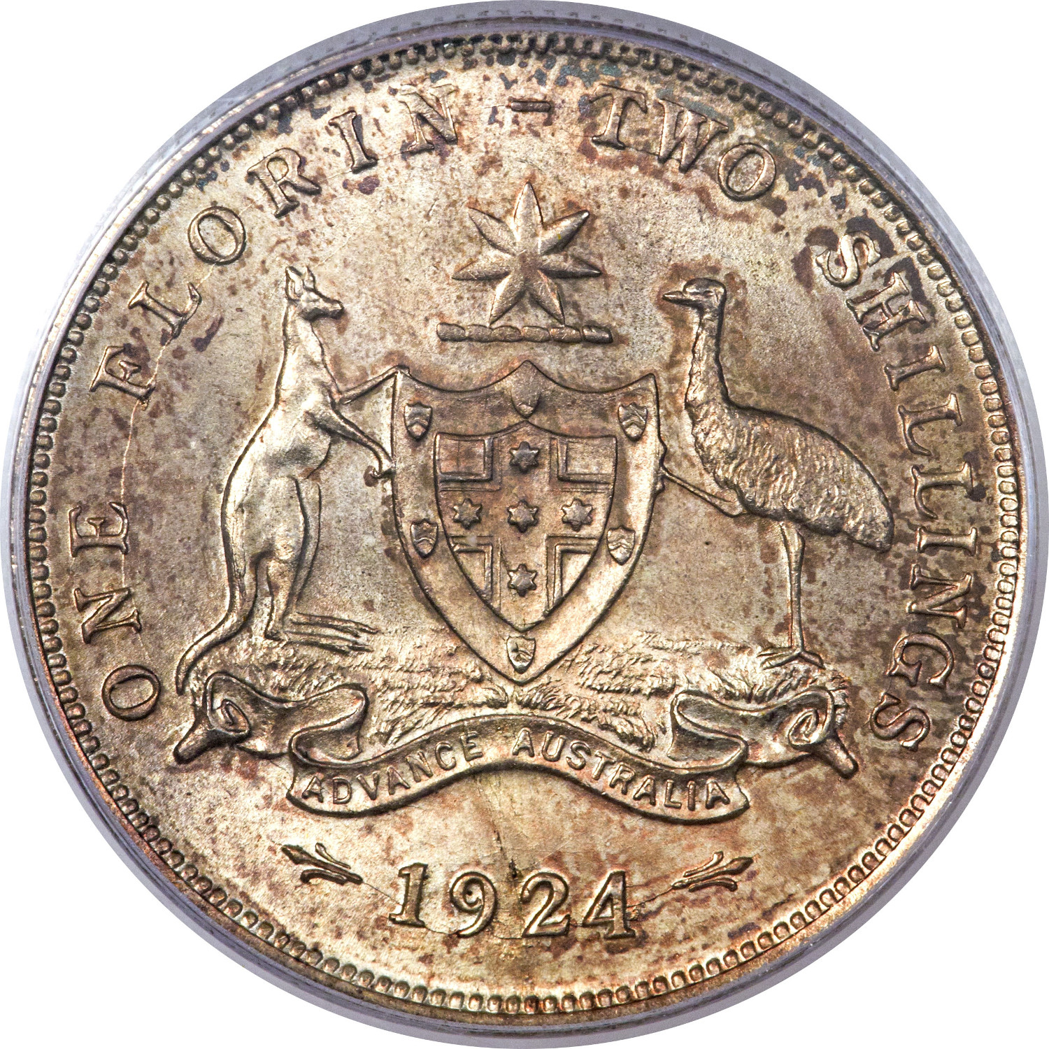 Florin - 1908 Coat of Arms: Photo Australia 1924 florin