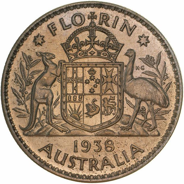 Florin 1938: Photo Proof Coin - Florin (2 Shillings), Australia, 1938