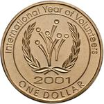 Australia / One Dollar 2001 International Year of Volunteers - reverse photo