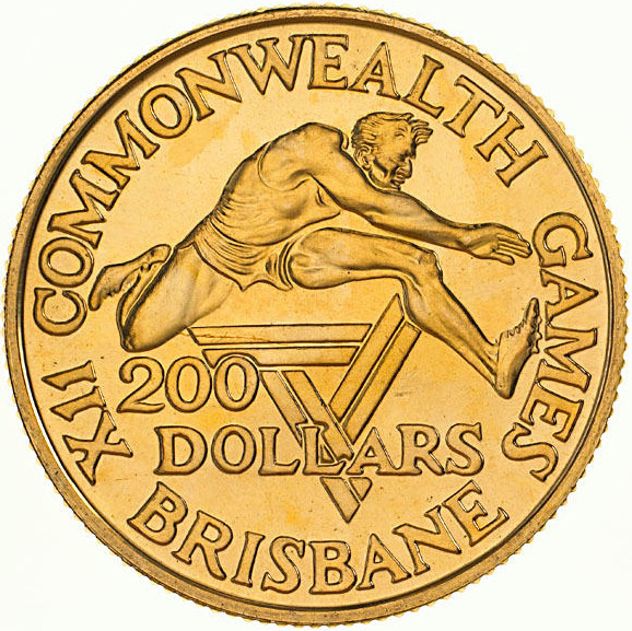 Two Hundred Dollars 1982: Photo Coin - 200 Dollars, Uncirculated, XII Commonwealth Games, Brisbane 1982