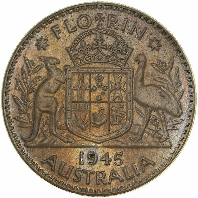 Florin 1945: Photo Pattern Coin - Florin (2 Shillings), 50% Silver Trial Strike, Australia, 1945