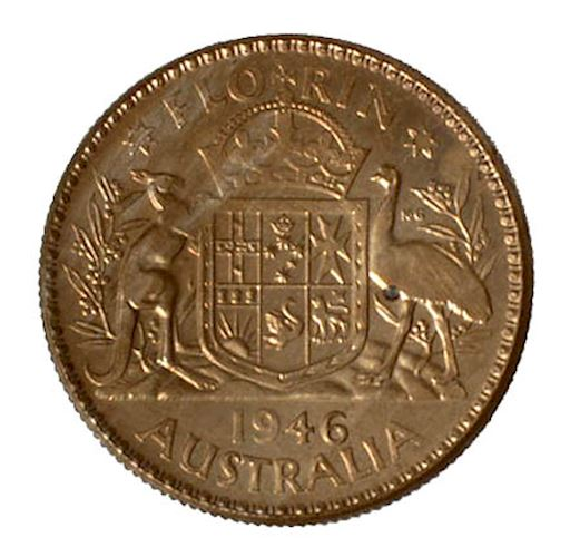 Florin 1946: Photo Pattern Coin - Florin (2 Shillings), Australia, 1946