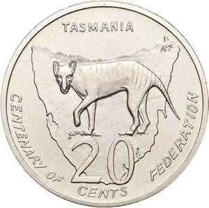 Australia / Twenty Cents 2001 Centenary of Federation - Tasmania - reverse photo