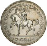 Florin 1934-1935 Centenary of Victoria: Photo Specimen Coin - Florin (2 Shillings), Centenary of Victoria & Melbourne, Victoria, Australia, 1934