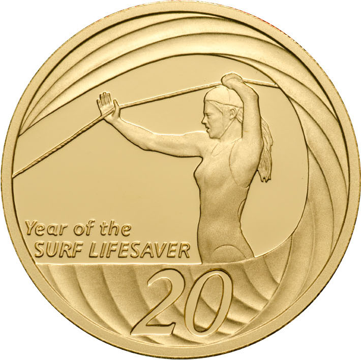 Twenty Cents 2007 Year of the Life Saver (NCLT): Photo 2007 20c Gold Proof for the Proof Year Set