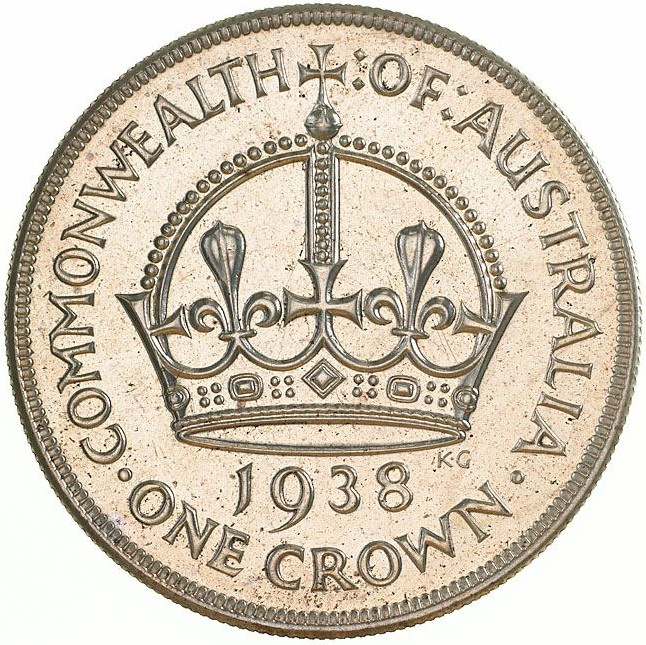 Crown: Photo Proof Coin - Crown (5 Shillings), Australia, 1938