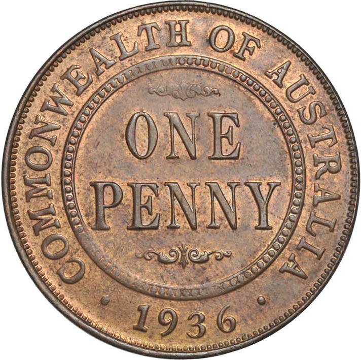 Penny 1936: Photo Coin - 1 Penny, Australia, 1936