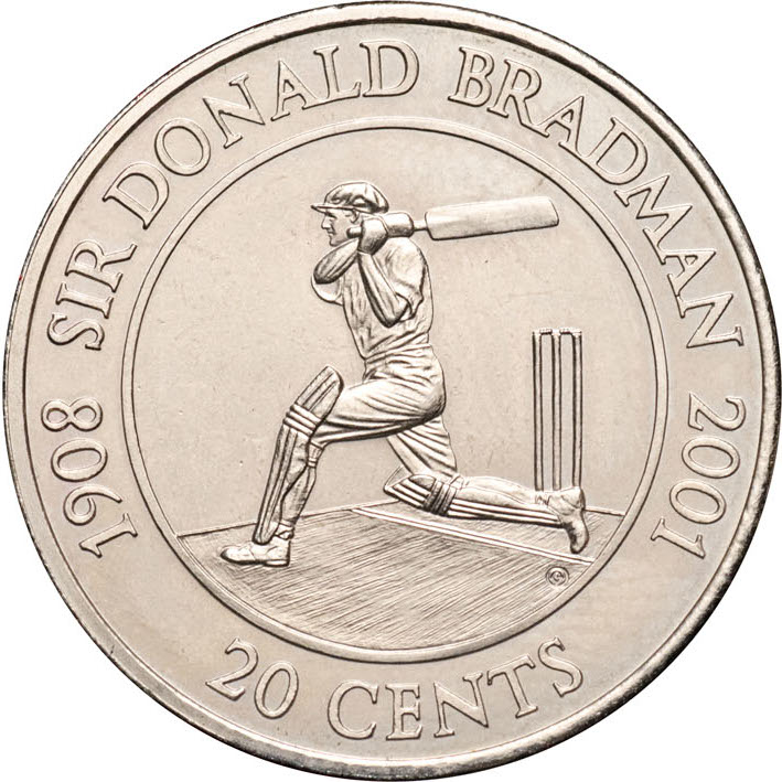 Twenty Cents 2001 Donald Bradman: Photo 20 Cents coin
