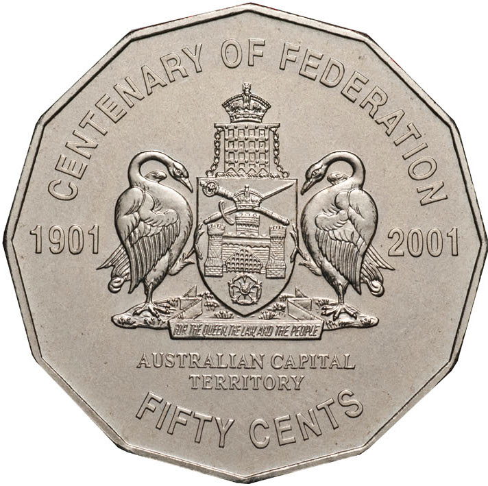 Fifty Cents 2001 Centenary of Federation - Australian Capital Territory: Photo 2001 50c CuNi Unc for the Centenary of Federation Australian Capital Territory