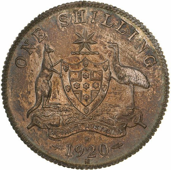Shilling 1920: Photo Pattern Coin - 1 Shilling, Australia, 1920