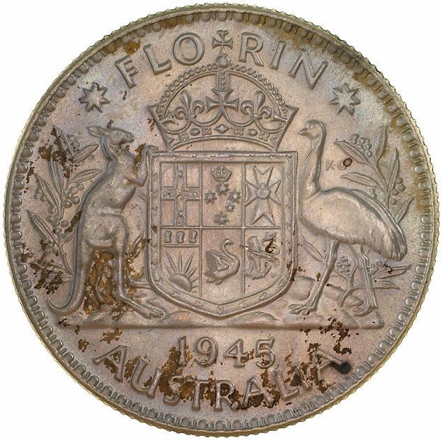 Florin 1945: Photo Pattern Coin - Florin (2 Shillings), 66% Silver Trial Strike, Australia, 1945