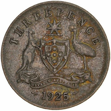 Threepence 1925: Photo Coin - Threepence, Australia, 1925