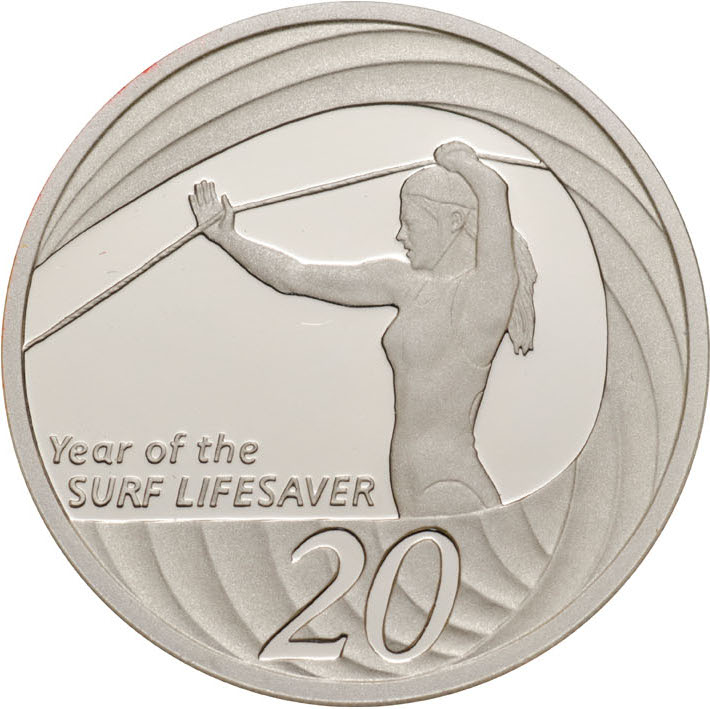 Twenty Cents 2007 Year of the Life Saver (NCLT): Photo 2007 20c Silver Proof for the Proof Year Set
