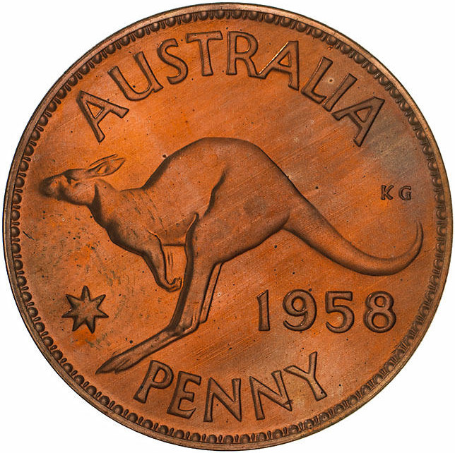 Penny 1958: Photo Proof Coin - 1 Penny, Australia, 1958