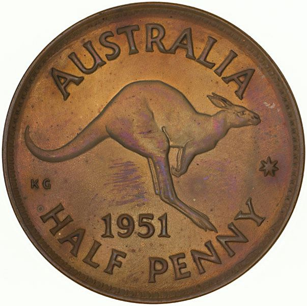 Halfpenny 1951: Photo Proof Coin - Halfpenny, Australia, 1951