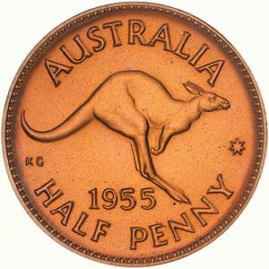 Australia / Halfpenny 1955 - reverse photo