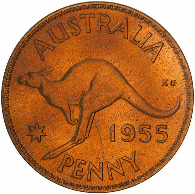 Penny 1955: Photo Proof Coin - 1 Penny, Australia, 1955