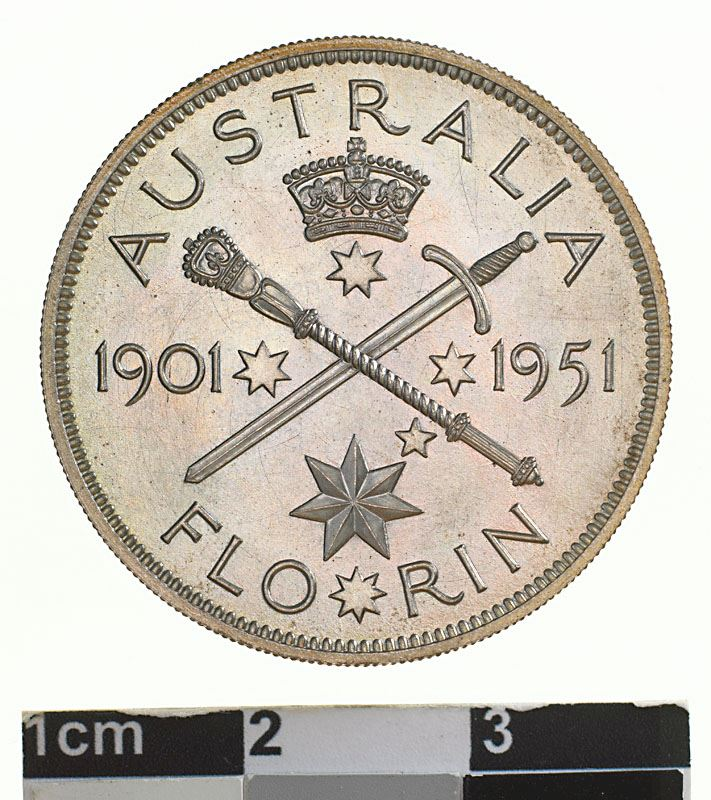 Florin: Photo Pattern Coin - Florin (2 Shillings), Jubilee of Federation 1901-1951, Australia, 1951