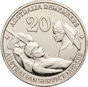 Australia / Twenty Cents 2009 Australian Service Nurses (NCLT) - reverse photo