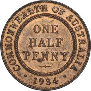 Australia / Halfpenny 1934 - reverse photo