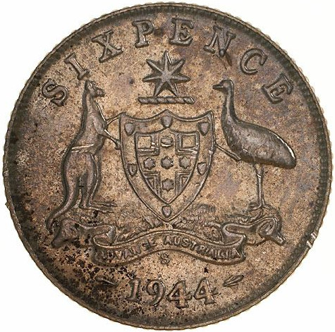 Sixpence 1944: Photo Coin - Sixpence, Australia, 1944