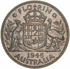 Florin 1945: Photo Proof Coin - Florin (2 Shillings), Australia, 1945