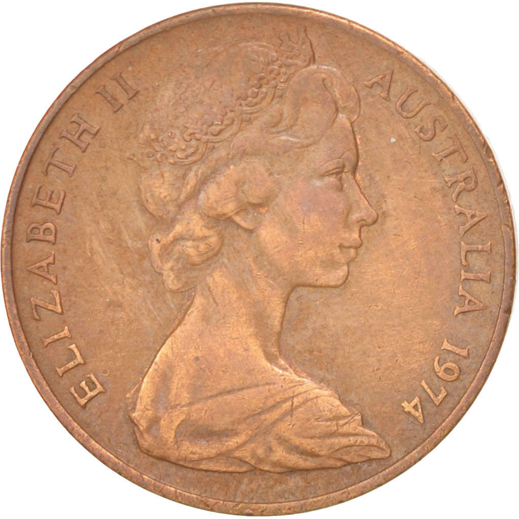 Two Cents 1974: Photo Australia, Elizabeth II, 2 Cents, 1974