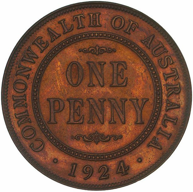 Penny 1924: Photo Proof Coin - 1 Penny, Australia, 1924