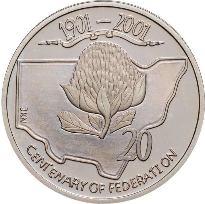 Twenty Cents 2001 Centenary of Federation - New South Wales: Photo 2001 20c CuNi Proof Centenary of Federation New South Wales