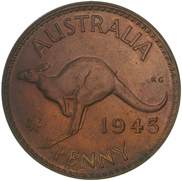 Penny 1945: Photo Proof Coin - 1 Penny, Australia, 1945