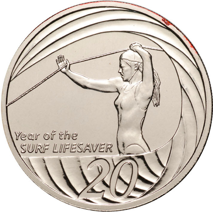 Twenty Cents 2007 Year of the Life Saver (NCLT): Photo 2007 20c CuNi Unc for the Year of the Surf Lifesavers