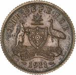 Australia / Threepence 1911 / Matt proof (Milled Edge) - reverse photo