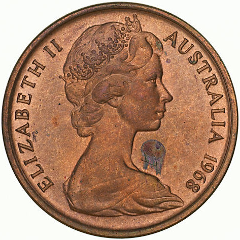 One Cent 1968: Photo Specimen Coin - 1 Cent, Australia, 1968