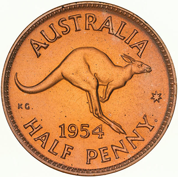 Halfpenny 1954: Photo Proof Coin - Halfpenny, Australia, 1954