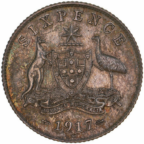 Sixpence 1917: Photo Specimen Coin - Sixpence, Australia, 1917