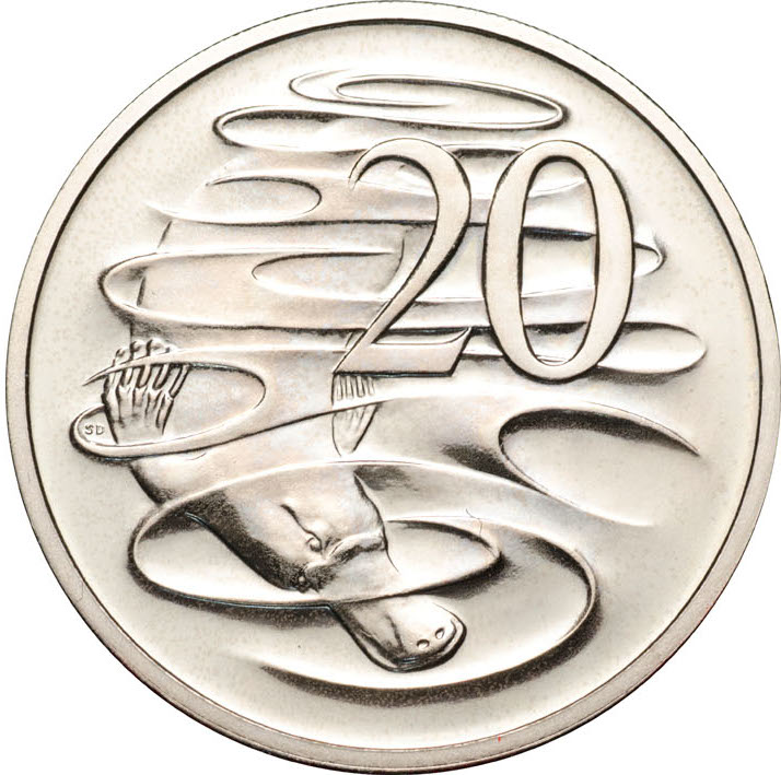 Twenty Cents 1996: Photo 1996 20c CuNi Unc for the Uncirculated Year Set