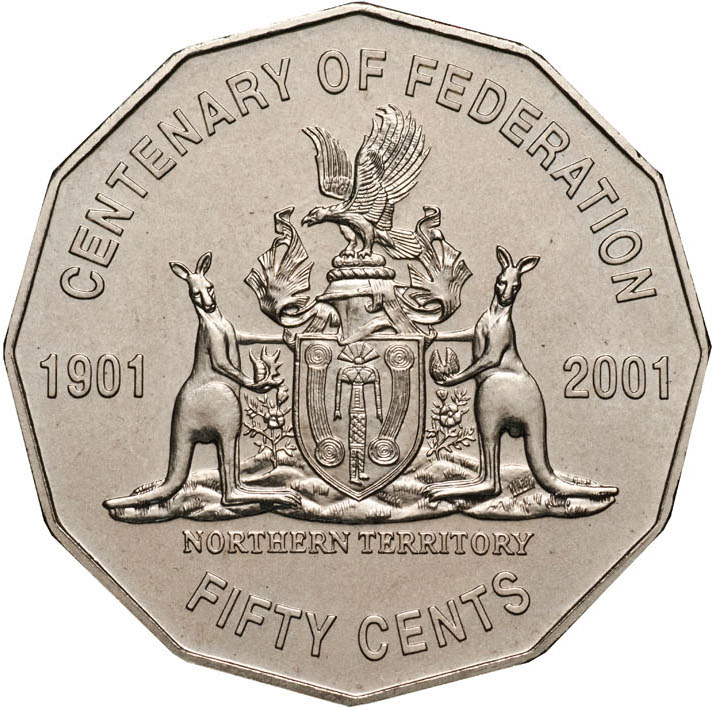 UNC Coat of Arms 2001 Australia Fifty 50 Cent Coin Centenary of Federation