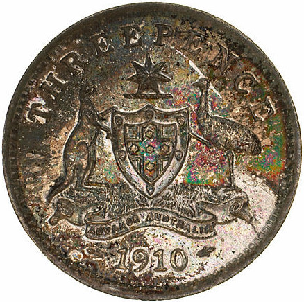 Threepence 1910: Photo Specimen Coin - Threepence, Australia, 1910