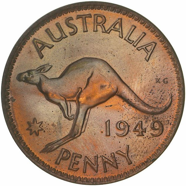 Penny 1949: Photo Proof Coin - 1 Penny, Australia, 1949