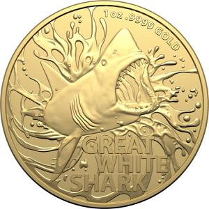 Australia / Gold Ounce 2021 Great White Shark - reverse photo