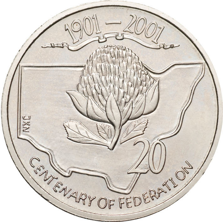 Twenty Cents 2001 Centenary of Federation - New South Wales: Photo 2001 20c CuNi Unc Centenary of Federation New South Wales