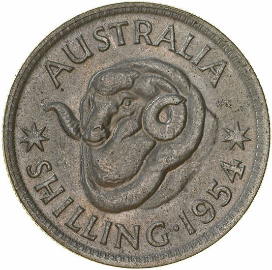 Shilling 1954: Photo Coin - 1 Shilling, Australia, 1954