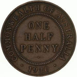 Australia / Halfpenny 1930 - reverse photo