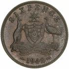 Sixpence 1942: Photo Coin - Sixpence, Australia, 1942