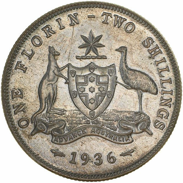 Florin 1936: Photo Proof Coin - Florin (2 Shillings), Australia, 1936