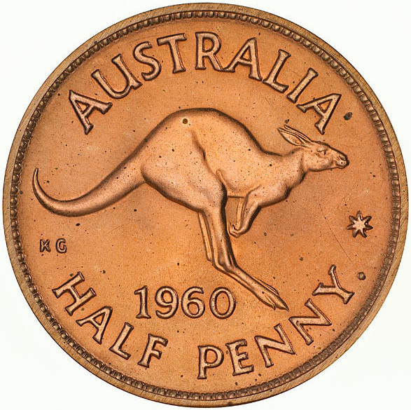 Halfpenny 1960: Photo Proof Coin - Halfpenny, Australia, 1960