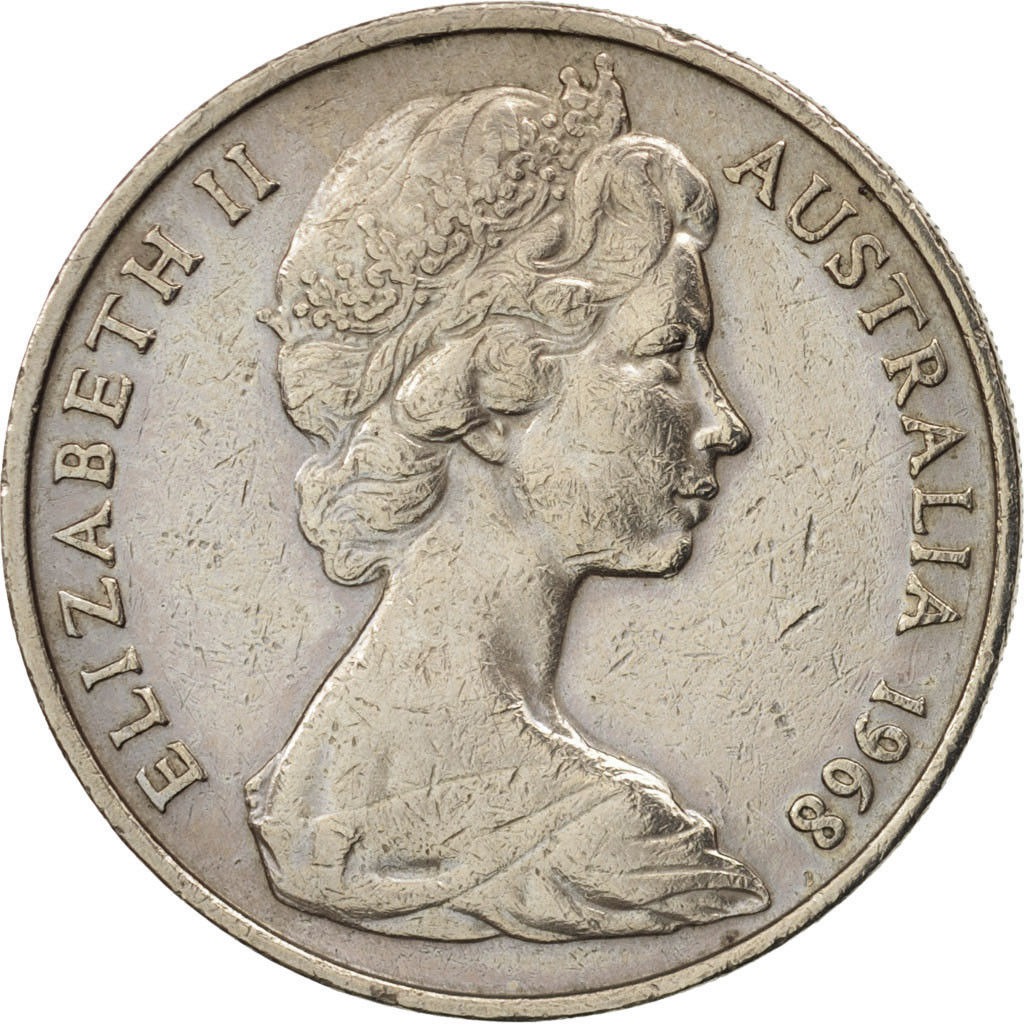 Twenty Cents 1968: Photo Australia, Elizabeth II, 20 Cents, 1968