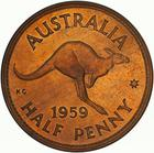 Halfpenny 1959: Photo Proof Coin - Halfpenny, Australia, 1959